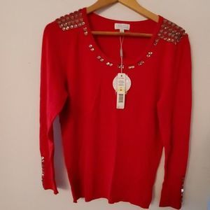 Joseph A Red Gem Embellished Sweater M NWT